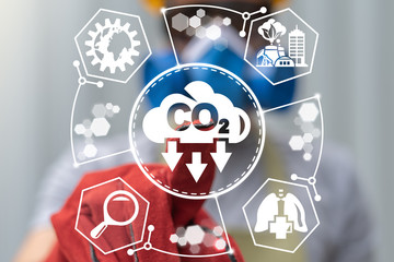 Ecology CO2 Carbon Dioxide Emissions Reduction Industrial concept.