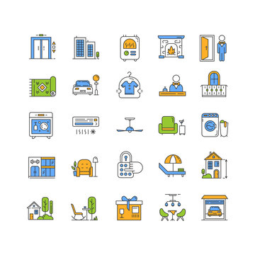 Apartment amenities color icons set. Household appliance and furniture, furnishing. Interior design items. Hotel services. Dry cleaning, parking zone facilities. Isolated vector illustrations