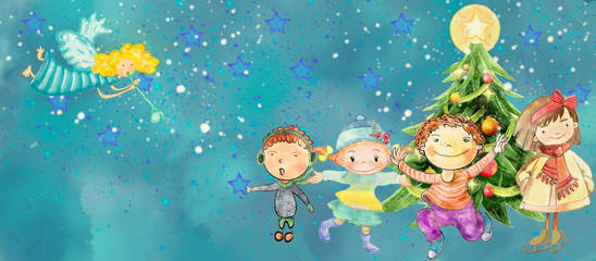 Happy children with Christmas tree and angel. Watercolor background