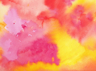 Wall Mural - watercolor background in pink orange yellow and purple colors in a beautiful abstract painted sunrise or sunset with clouds in artist design