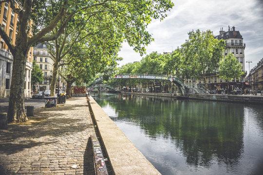 Canal Saint-Martin in summer, Paris, France.