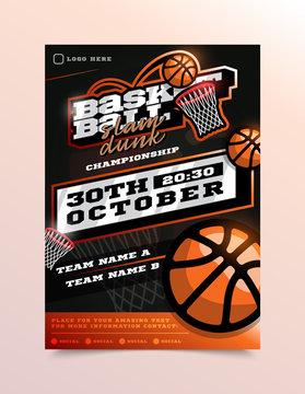 Basketball Sport Flyer Vector. Vertical Card Poster Design For Sport Bar Promotion. Tournament Flyer. Invitation Illustration