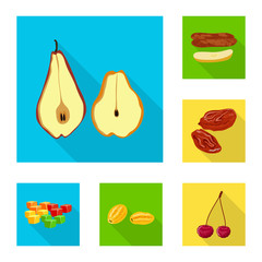 Fototapete - Isolated object of fruit and dried icon. Collection of fruit and food vector icon for stock.