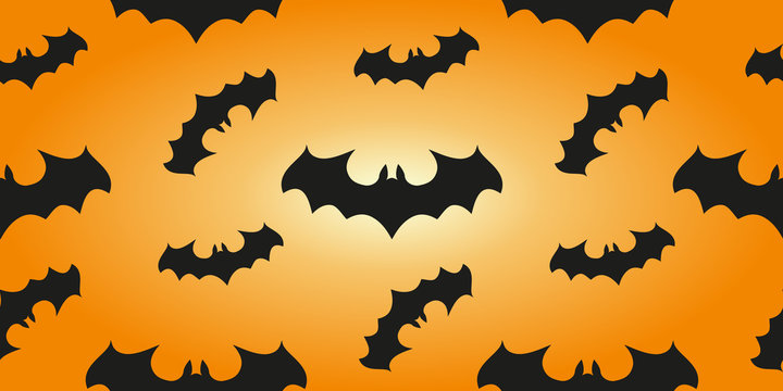 Halloween banner background. Seamless pattern with bats in an orange print design