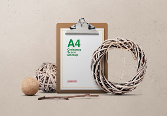 Stationery and Clipboard with Wreath Decoration Mockup