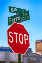 Stop sign at the intersection of 6th and Ferro in N Downtown Tucson AZ