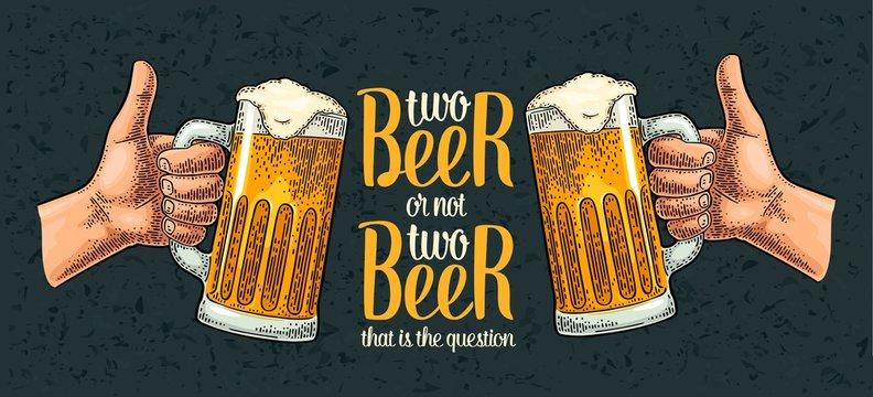 Two beer glass. Vintage vector engraving illustration for poster