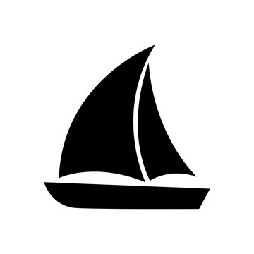 Sailboat icon, logo isolated on white background