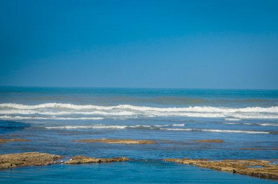 Coast of Atlantic Ocean in Casablanca, Morocco.