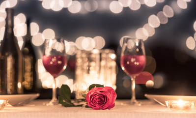 Wall Mural - Beautiful romantic candlelight dinner setting.