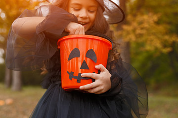 Cheerful witch examining trick or treat bucket Wall mural