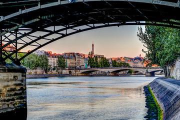 Buildings and bridges along the Seine River in Paris
