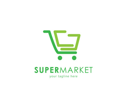 Supermarket logo design vector, trolley. Abstract and simple concept for online shop. Vector illustration