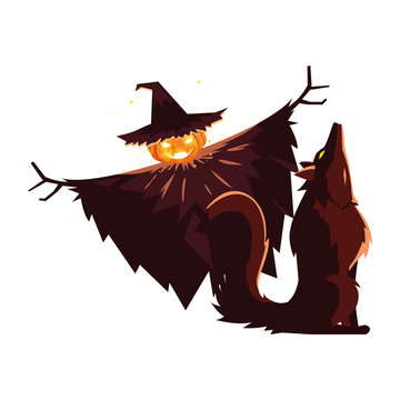 Halloween scarecrown and werewolf vector design icon