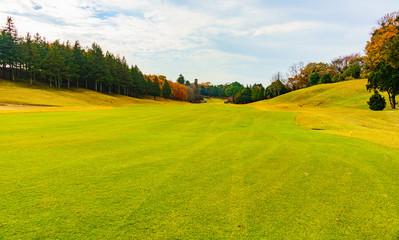 日本の秋のイメージ:スポーツの秋にゴルフ場で汗を流しつつ紅葉と秋空のコントラストを楽しむシーン