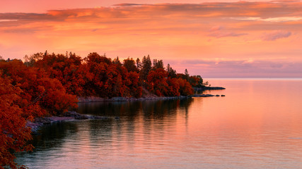 Wall Murals Coral Sunset on Lake in Autumn