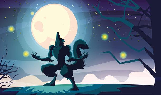 Halloween werewolf vector design icon
