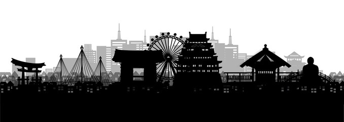 Fototapete - Silhouette panorama view of Nagoya city skyline with world famous landmarks of Japan in paper cut style vector illustration.