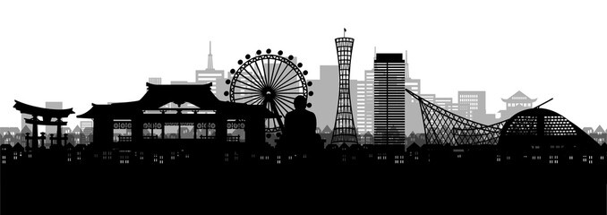 Fototapete - Silhouette panorama view of Kobe city skyline with world famous landmarks of Japan in paper cut style vector illustration.