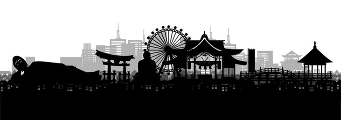 Wall Mural - Silhouette panorama view of Fukuoka city skyline with world famous landmarks of Japan in paper cut style vector illustration.