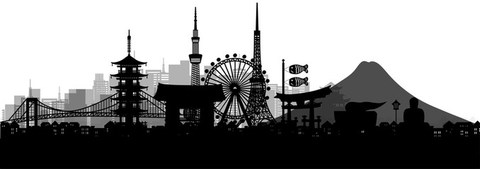 Fototapete - Silhouette panorama view of Tokyo city skyline with world famous landmarks of Japan in paper cut style vector illustration.