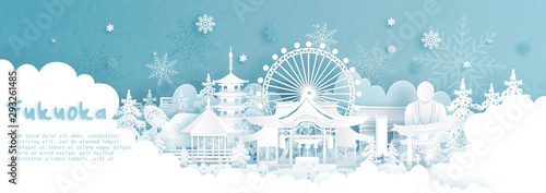 Fototapete Panorama postcard and travel poster of world famous landmarks of Fukuoka, Japan in winter season with falling snow in paper cut style vector illustration