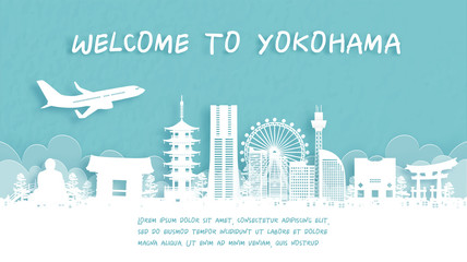 Fototapete - Travel poster with Welcome to Yokohama, Japan famous landmark in paper cut style vector illustration.