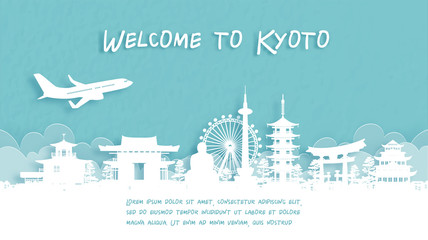 Fototapete - Travel poster with Welcome to Kyoto, Japan famous landmark in paper cut style vector illustration.