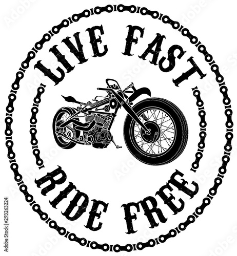 Live Fast Ride Free Black And White Motorcycle T Shirt