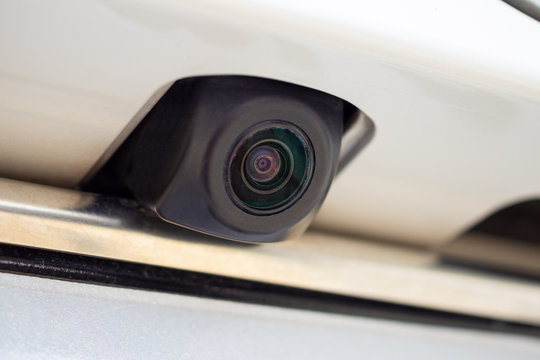 car rear view camera close up for parking assistance