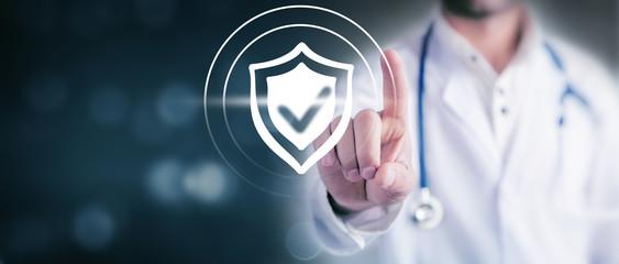 doctor clicks antivirus icon on screen