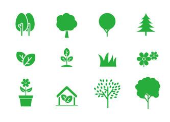 Set of tree and plat vector illustration with green color suitable for icon  Wall mural