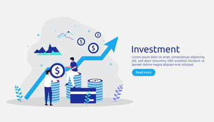 Obraz Business investment concept. Returns on investment graphic chart. Financial growth rising up to success. web landing page template, banner, presentation, social, and print media. Vector illustration - fototapety do salonu