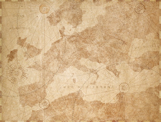 Vintage Europe map retro background. Based on image furnished from NASA.