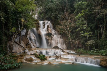 Lovely Kuang Si waterfall in the forest of north Laos near Luang Prabang