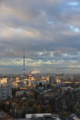 Keuken foto achterwand Milan High-rise view of Moscow. City landscape with horizon, sky, clouds and the Ostankino TV-tower.