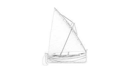 3d rendering of a sailboat siolated in white studio background