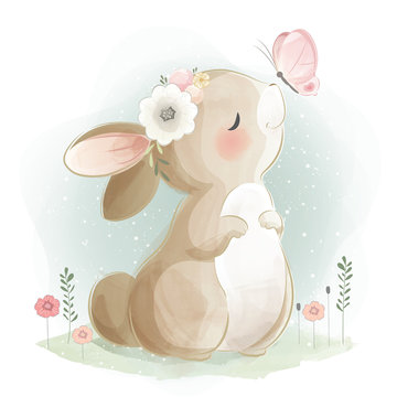 Cute Bunny and the Butterfly
