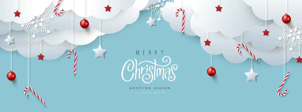 Merry Christmas banner or party invitation background .Merry Christmas vector text Calligraphic Lettering Vector illustration.