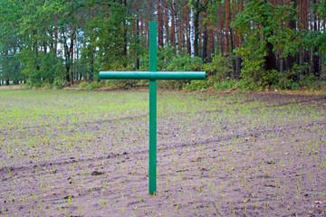 Grüne Kreuze als Mahnmal für das Hofsterben der Landwirte