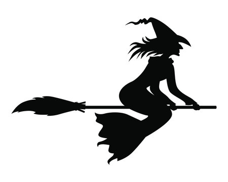 Vector illustrations of silhouette Halloween witch