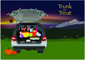 Foto op Plexiglas Cartoon cars Trunk or Treat Halloween