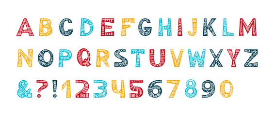 Christmas alphabet vector color typeset