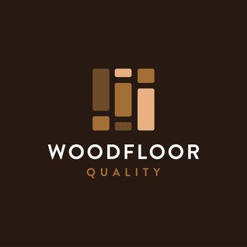 Modern minimalist wood flooring logo