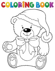 Coloring book Christmas teddy bear topic