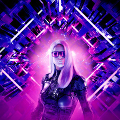 Cyberpunk female heroine / 3D illustration of beautiful blond woman with sunglasses in futuristic neon lit corridor