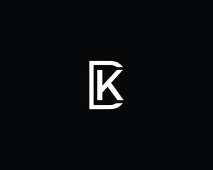 Professional and Minimalist Letter DK KD Logo Design, Editable in Vector Format in Black and White Color