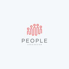 Minimalist creative people logo icon design modern style illustration. simple group vector symbol
