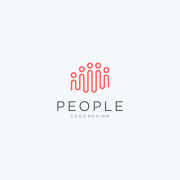 Minimalist creative people logo icon design modern style illustration. simple group vector symbol