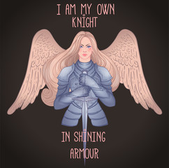.Portrait of beautiful girl with archangel wings. Female knight in armour and sword. Vector isolated illustration. Medieval aesthetics. Girl power. Joan of Arc inspired. Sticker, patch design